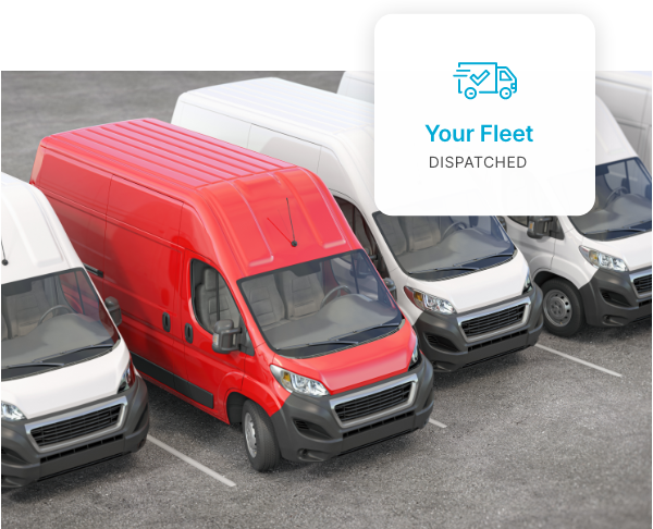 Delivery cargo vans in a line with your fleet vehicle in front